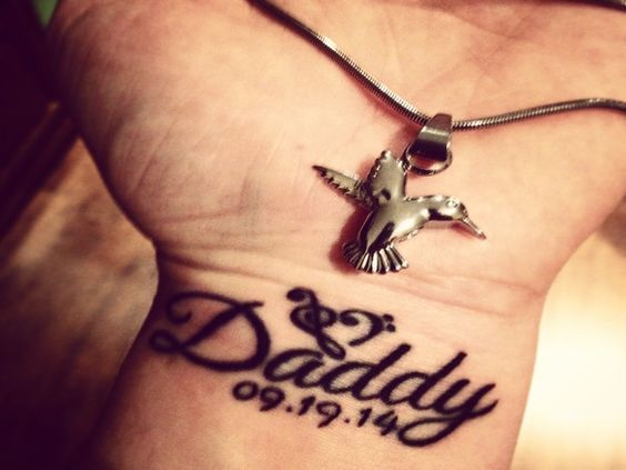 Tattoo Ideas Rip Dad: Memorial Wrist Daddy Tattoo With Date