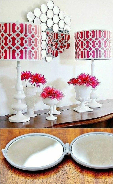 Wanddeko Selber Machen Wanddekoration Ideen Kleine Spiegel Lampen Rosa  Blumen