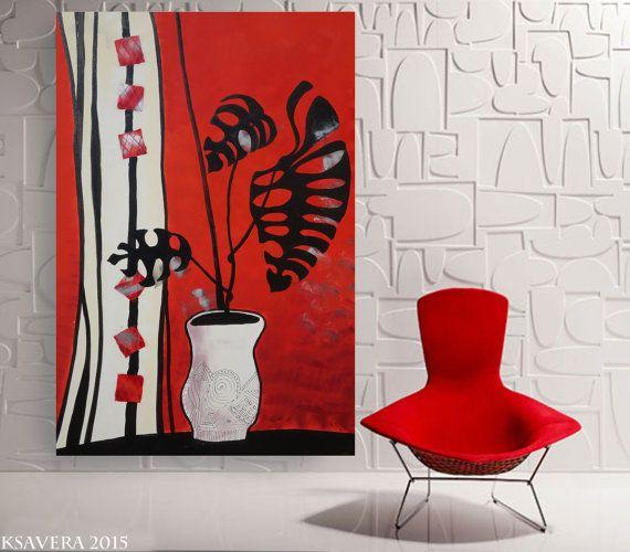 Monstera Rote Malerei 110x160 cm Grossformat von KsaveraART auf - wohnzimmer rot weiss schwarz