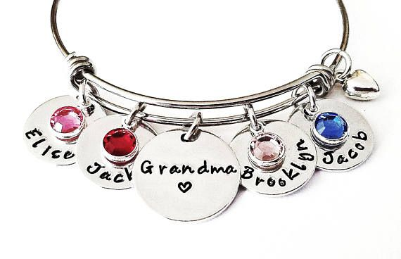 choose a Birthstone PERSONALIZED Nana Bangle Bracelet