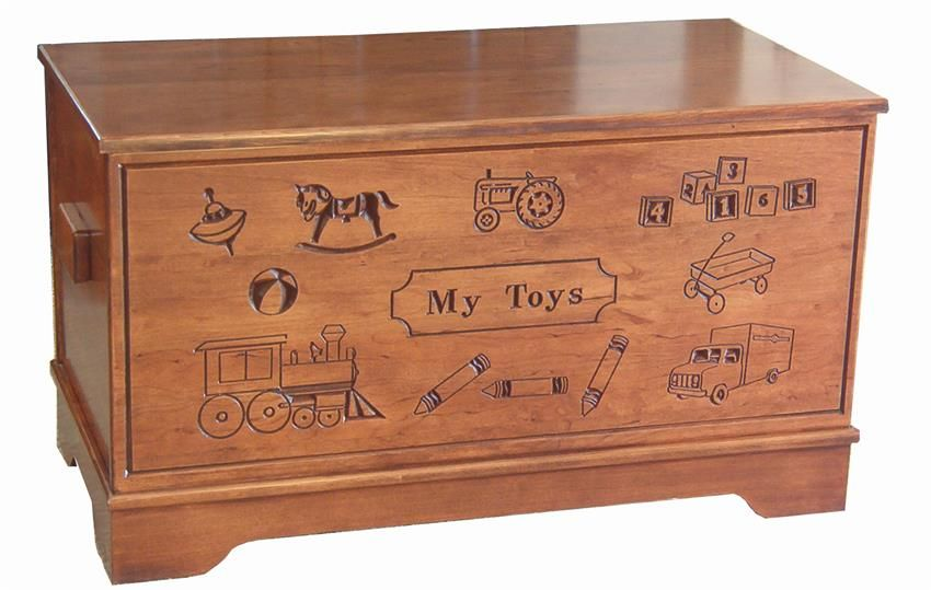 Amish hardwood large carved toy chest chest woodworking