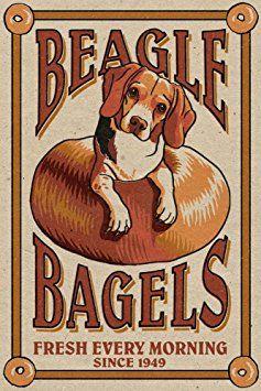 Beagle Bagels Retro Ad 12x18 Art Print Wall Decor Travel