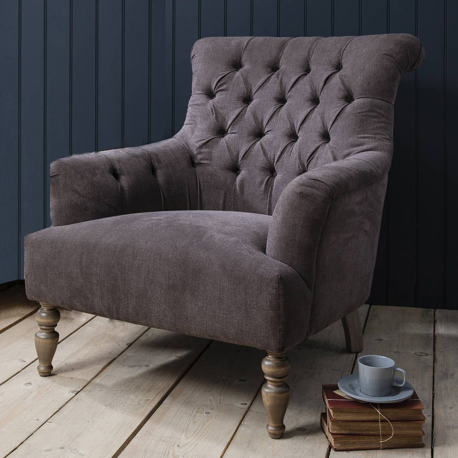 Grand Button Back Armchair   Slate Grey (Chair)