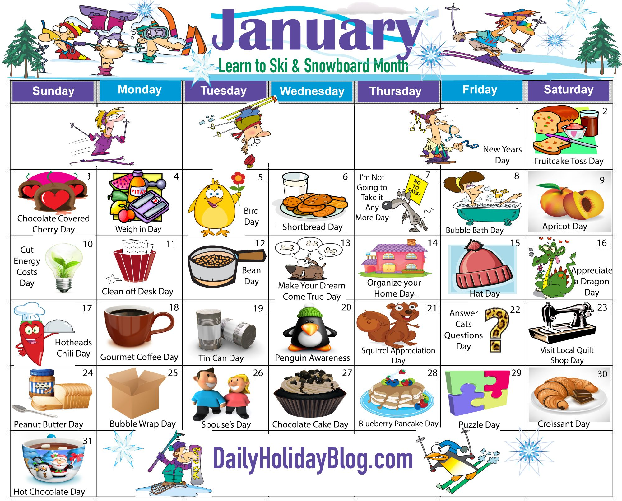 New January Holiday Calendar Is Available Now  Daily Holiday