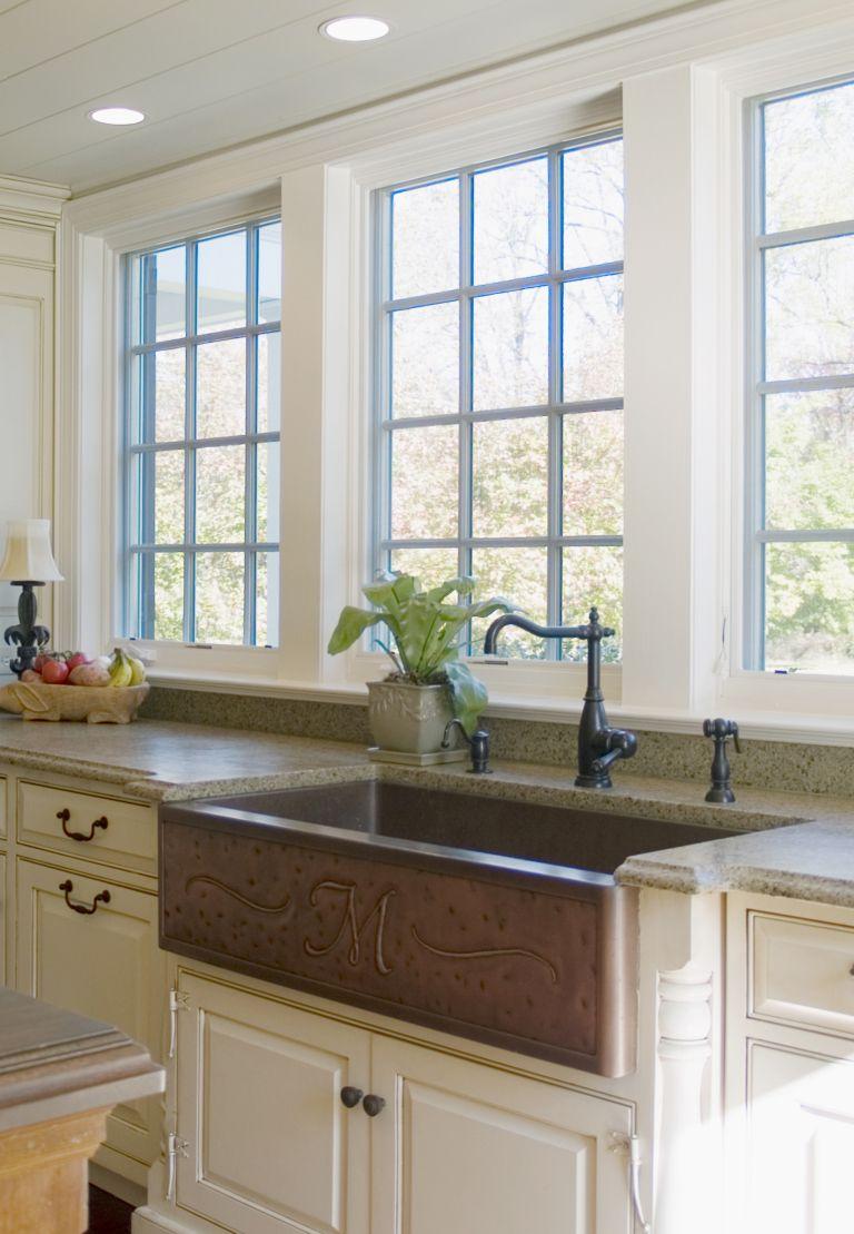 Copper Monogrammed Farmhouse Apron Front Sink Kitchen Redo