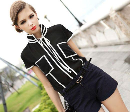 $12.49  Black Short Sleeve Blouse With White Piping,black short sleeve blouse with white piping #group #buying -whatabeautifullife.com