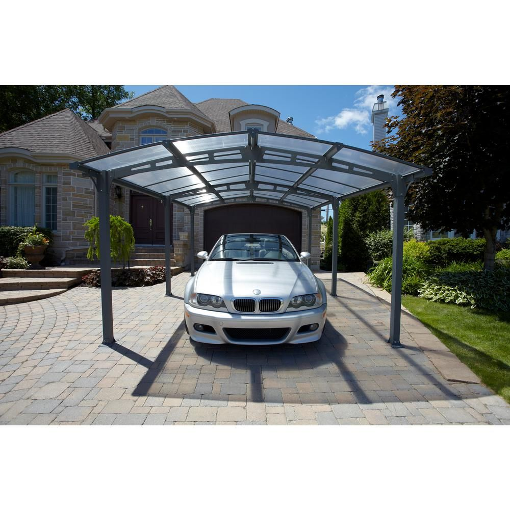 Gazebo Penguin Acay Carport 16 Ft 6 In D X 11 Ft 10 In W X 7 Ft 9 In H With Gutter In Slate 455006 The Home Depot Modern Outdoor Structures Aluminum Carport Gutters