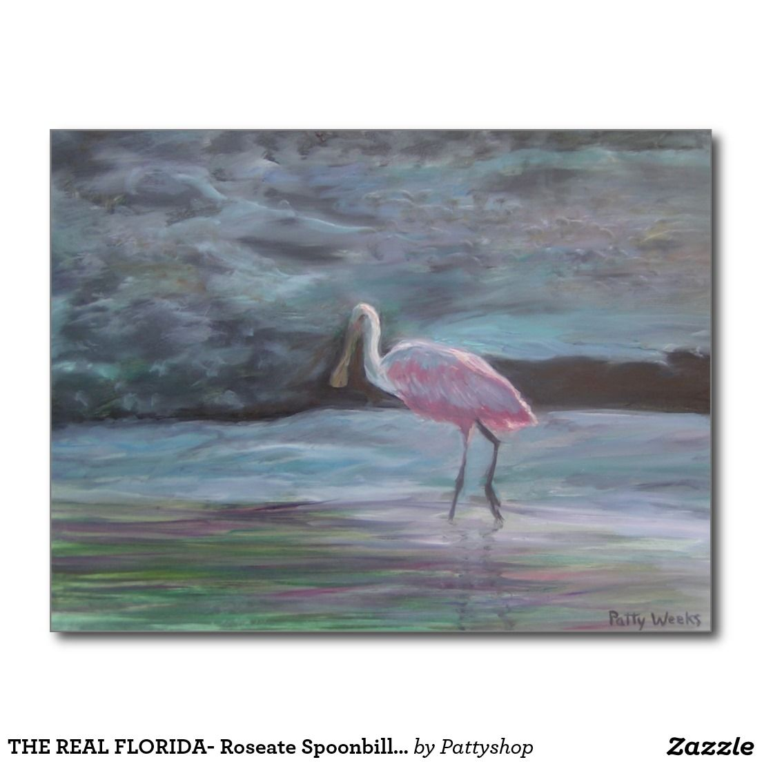 THE REAL FLORIDA- Roseate Spoonbill Postcard