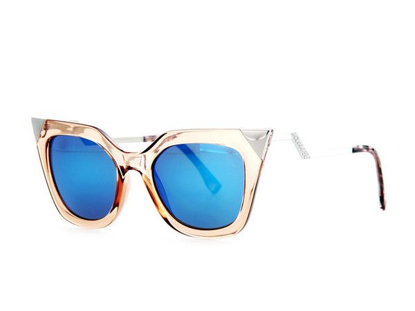 Sunglasses ~ Oculos De Sol ~ Rose Gold Frames & Royal Blue Lenses. Gorgeous Sunglasses!