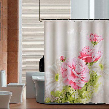 47 49 Peony Thicken Fabric Waterproof Shower Curtain Fabric Shower Curtains Floral Shower Curtains Shower Curtain
