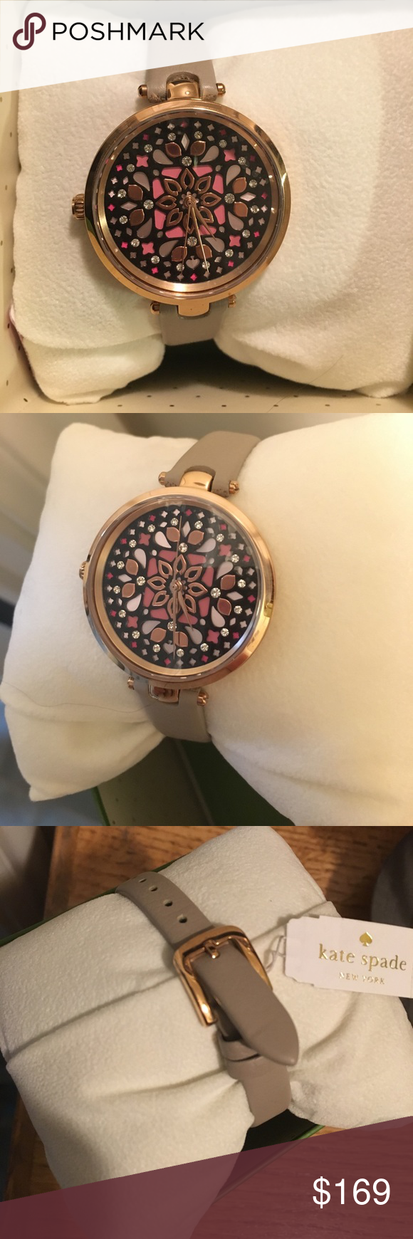 Kate Spade leather buckle watch ksw1260 NIBWT New in box with tags attached! Kate Spade Holland clock tower gray watch with leather straps. Buckle closure with rose gold hardware. Round rose gold case. Mosaic pattern on face. Case size: 34mm. Style # ksw1260. Open to reasonable offers; NO trades! kate spade Accessories Watches