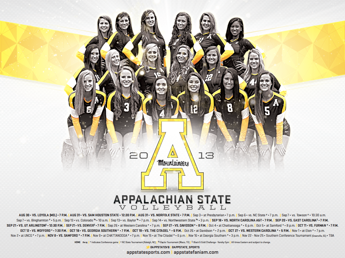 Appalachian State Volleyball Poster 2013 With Images Volleyball Posters Sports Design Inspiration Appalachian