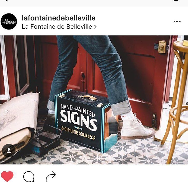 #repost @lafontainedebelleville #signpainting #lettering #paris photo by camera wizard @_albin_ kit box (almost finished!) from @ashandover by gedpalmer