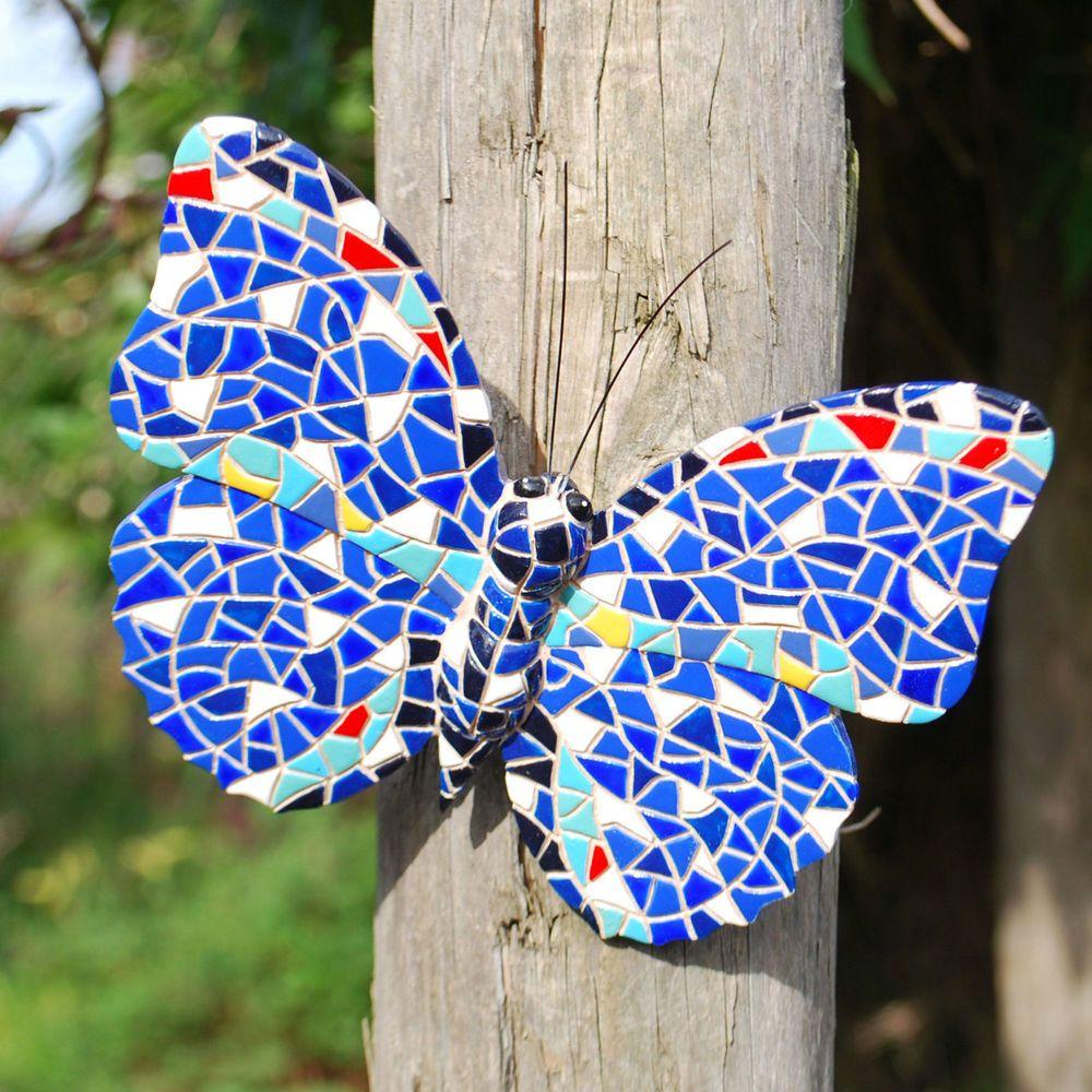 Blue mosaic butterfly garden ornament wall art feature in resin