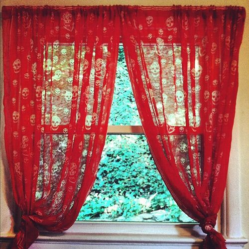 Sheer Red Skull Patterned Curtains Ideal For The Halloween Season Curtain Panels Made From Two Scarves