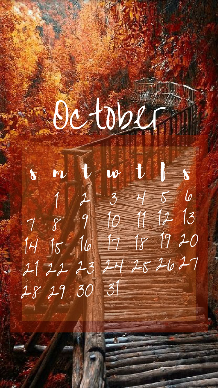 october 2018 calendar lockscreen iphone #octoberwallpaperiphone
