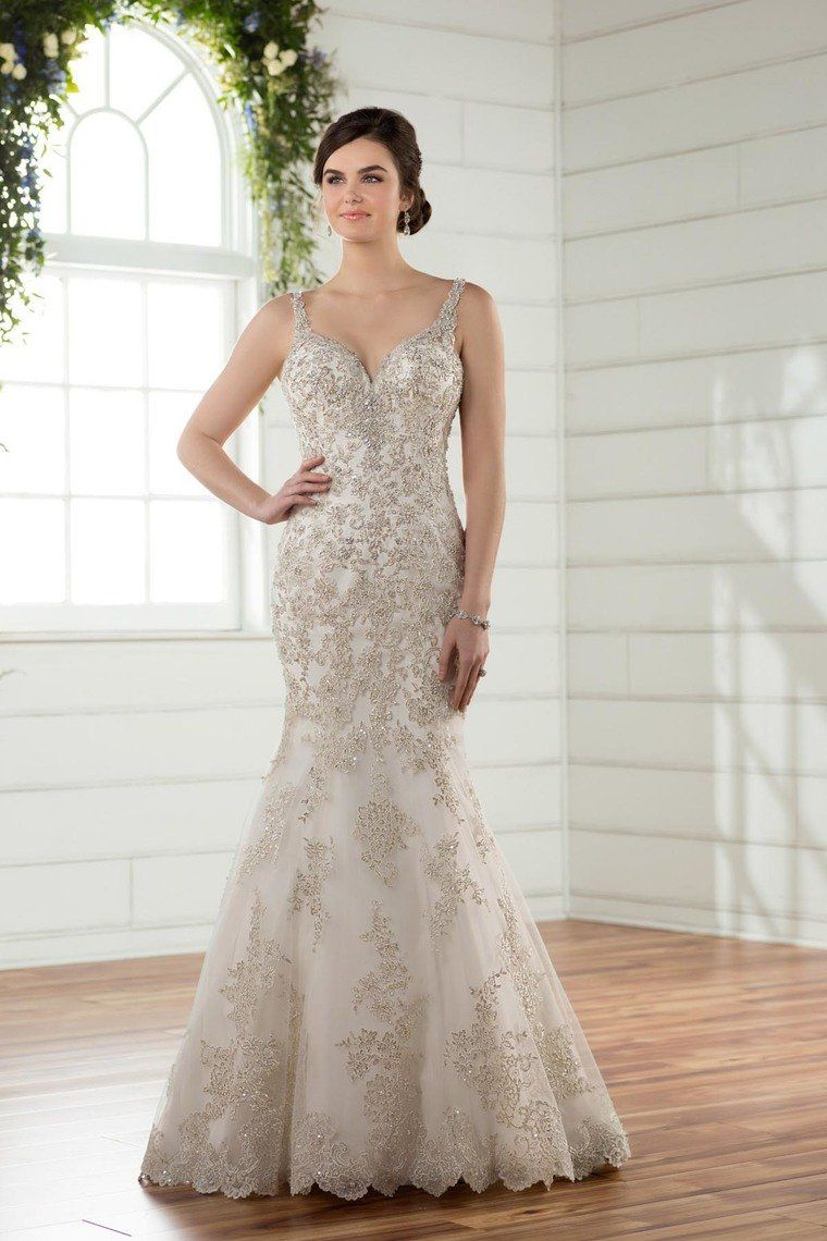 2019 Wedding Dresses Mermaid Straps Open Back With Applique And Beads