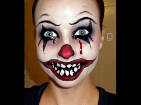 Creepy Clown Face Paint Halloween Halloween Makeup Costumes