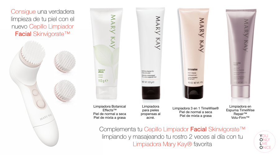 El nuevo cepillo limpiador facial Skinvigorate™ y las excelentes limpiadoras Mary Kay® son la combinación perfecta para un rostro increíble ... #marykay #skinvigorate #unidadyolo