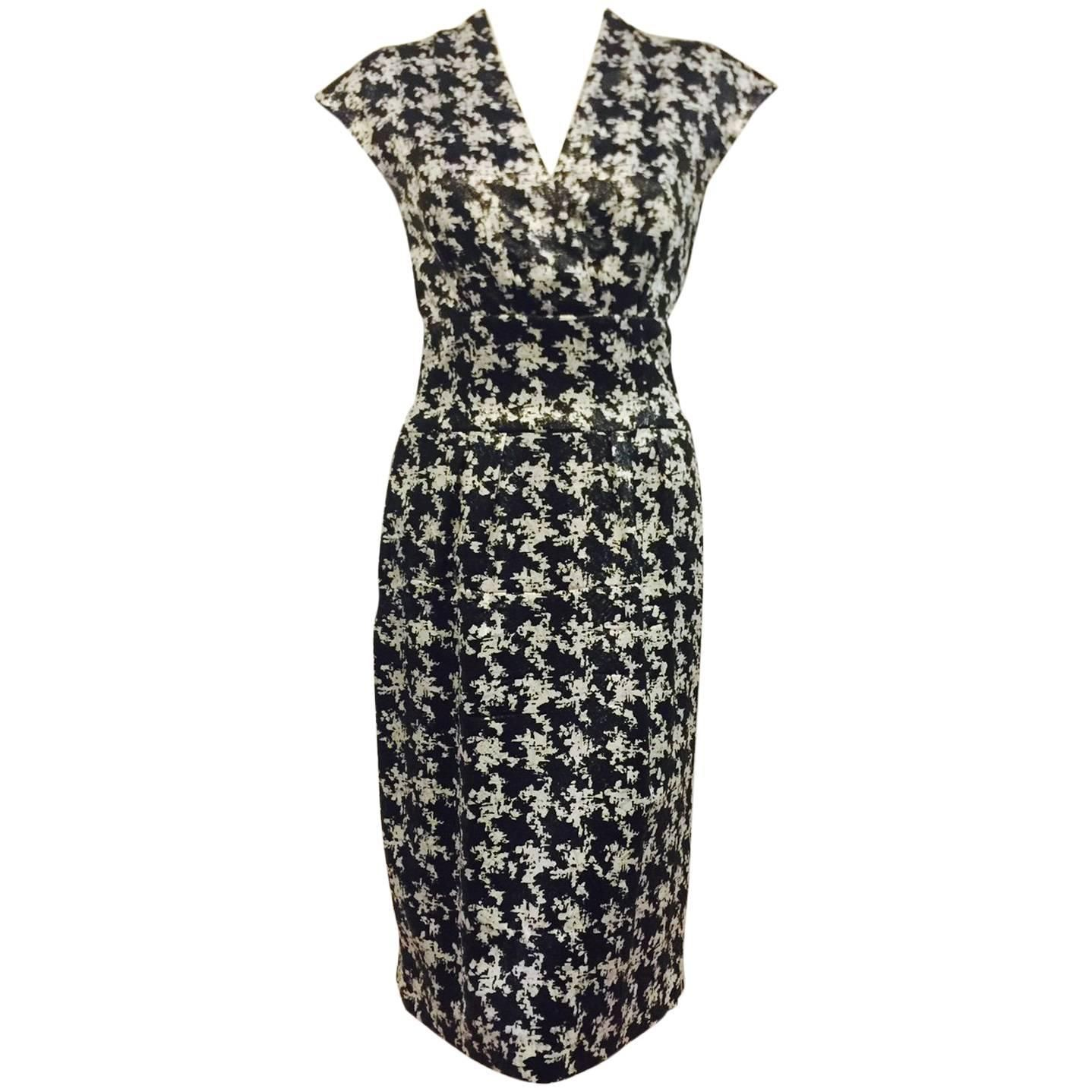 Escada Black and White Silk Blend Abstract Houndstooth Cocktail ...