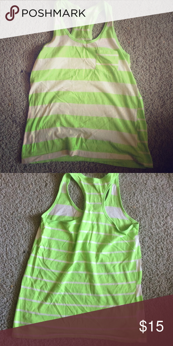 Green and white striped tank Green and white striped tank with pocket SO Tops Tank Tops