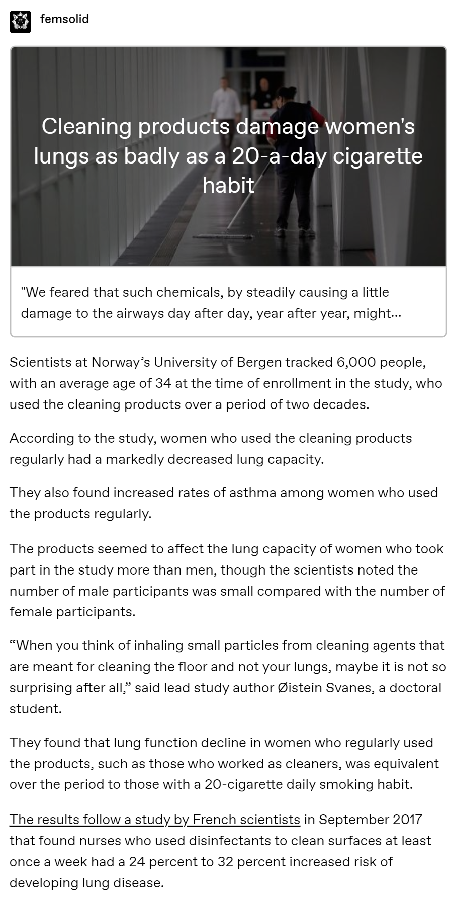 Photo of Cleaning products damage women's lungs as badly as a 20-a-day cigarette habit