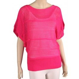 Misses Sexy Hot Pink Sheer Open Knit Sweater by Nice Wear New York ...