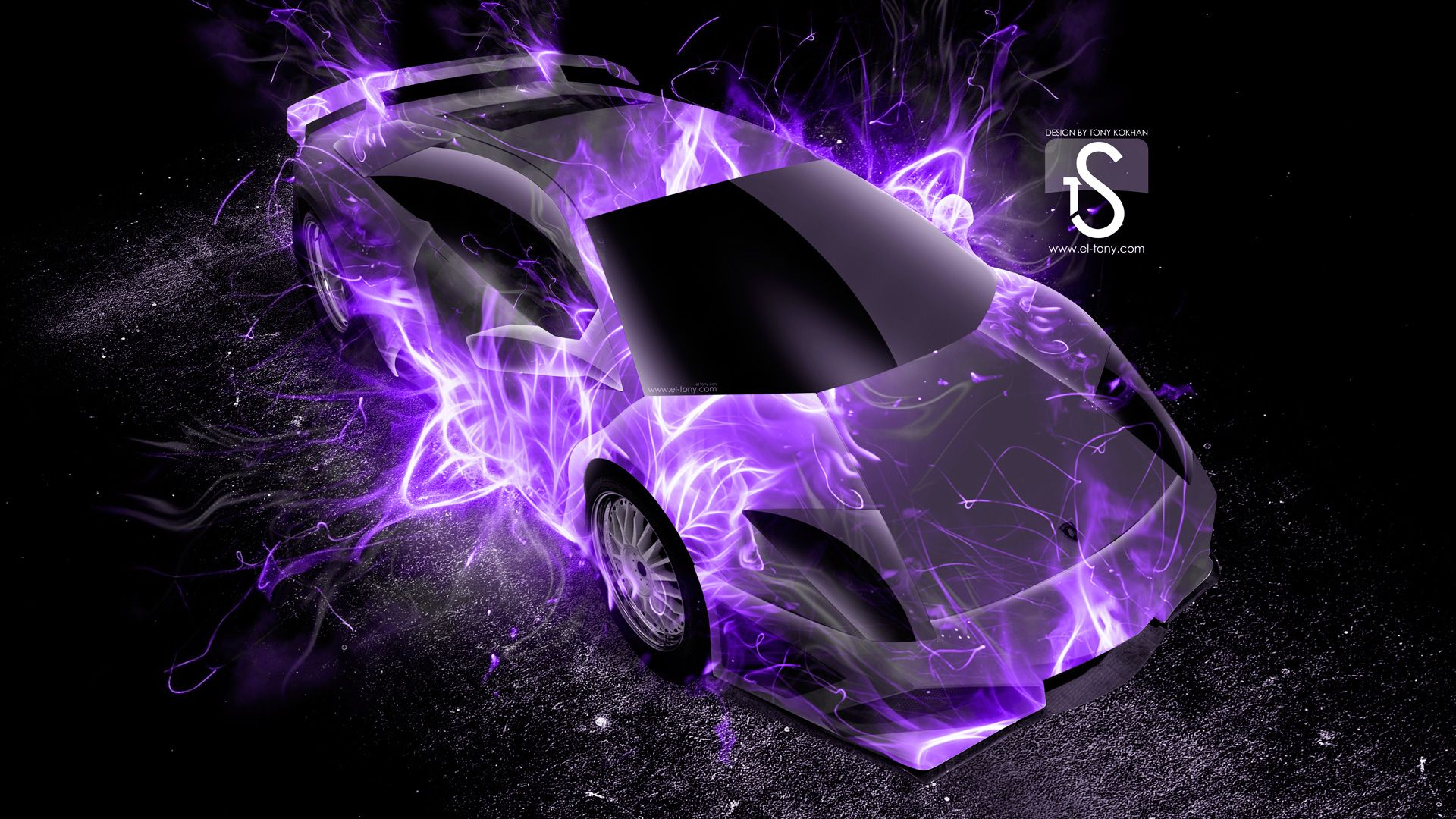 Neon Purple Flames | Front Fire Abstract Car 2014 Lamborghini Murcielago  Back Fire .