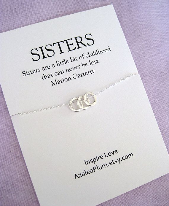 Sterling Silver 3 Ring Necklace Sister Gift Birthday Meaningful Simple Jewelry For The Love Between Sisters Dainty And Organic