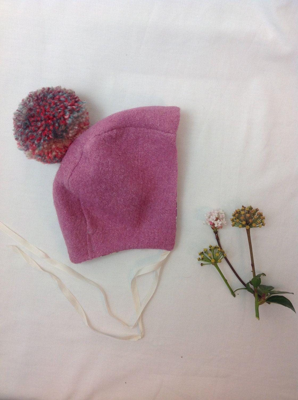 Tiddley Pom bonnet, baby bonnet for girls, girls hat, winter bonnet, handmade bonnet by RunaroundRetro on Etsy