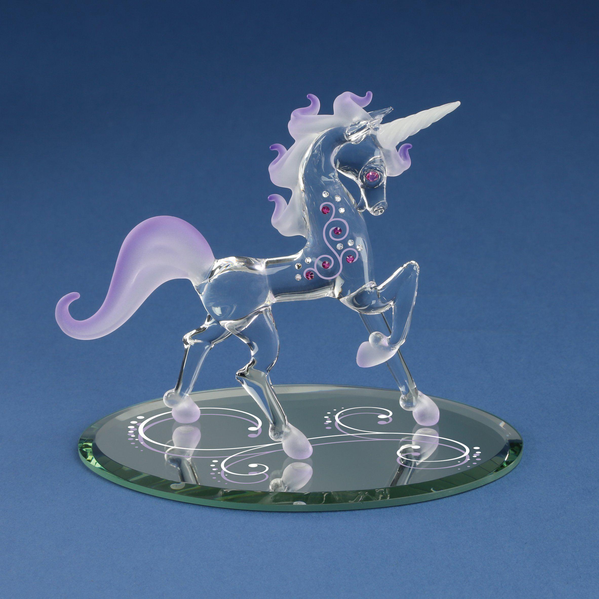 Unicorn Blue w//Pink Flowers Hand Blown Glass Figurine Fantasy Home Decor
