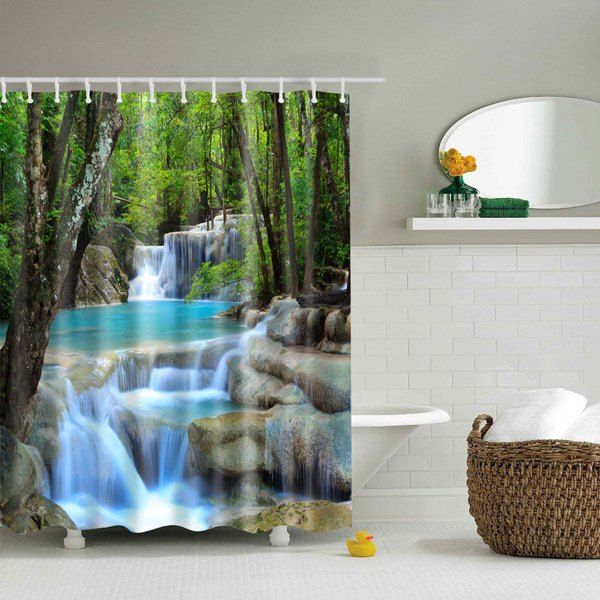 Waterfall Nature Scenery Polyester Waterproof Shower Curtain Beach Shower Curtains Patterned Shower Curtain Shower Curtain