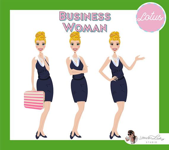 Business Woman Clip Art Logo Character Design
