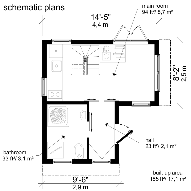2 bedroom small house plans pinterest building costs for Free small cabin plans with material list