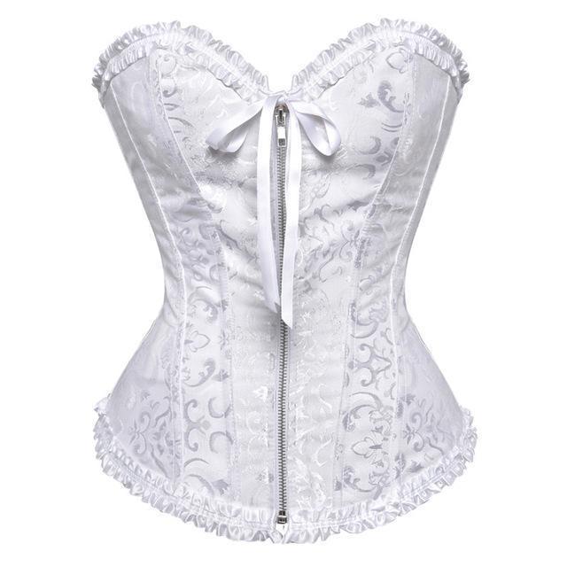 Sapubonva Corsets And Bustiers Tops Stylish Women Green White Black White  Brocade Corset Zip Vintage 259a7622d42