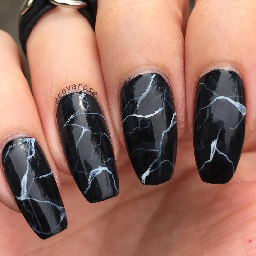 Black Granite Marble Nails Nail Art Nail Art By Coyarose In 2018