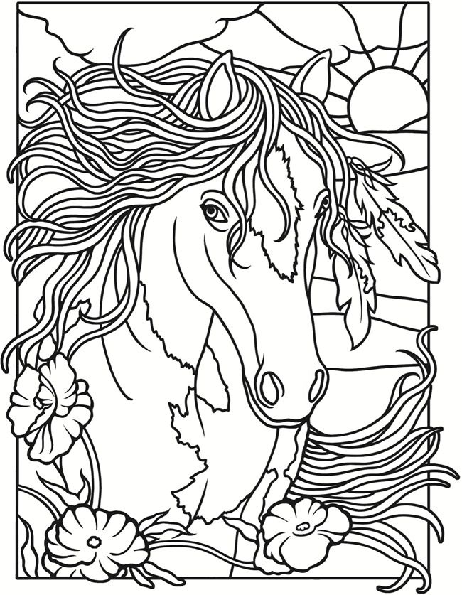Welcome to Dover Publications / Creative Haven Wild Horses Stained ...