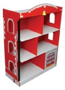 Kidkraft Firehouse Bookcase Fire Engine Book Shelf Nib