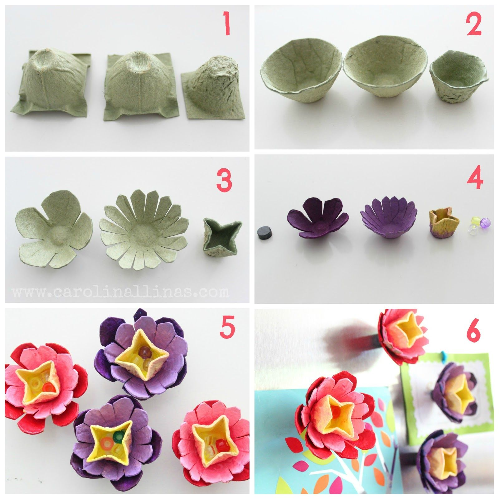 Imanes de flores hechas con cajas de huevo manualidades - Caja de huevo ...