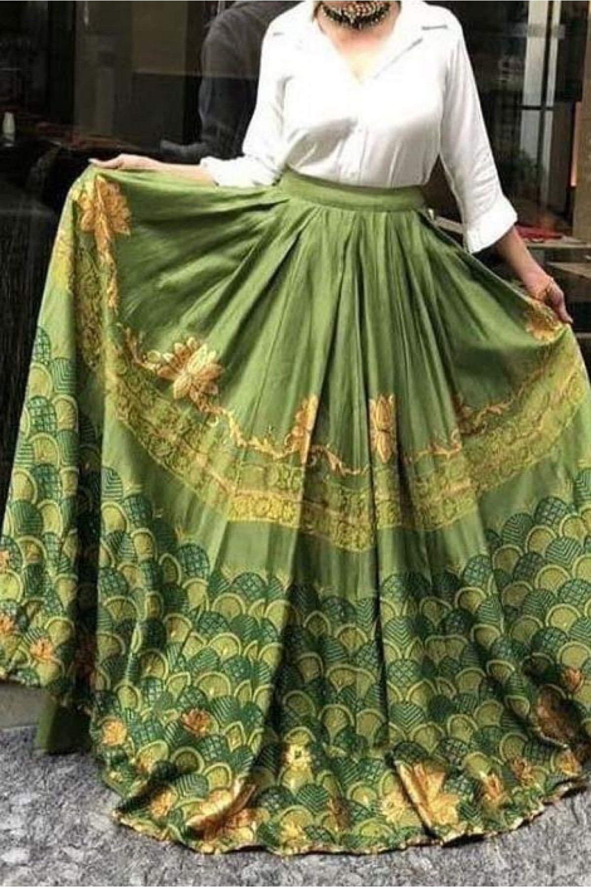 eb88a3ffef Green Colour Banglori Satin Fabric Crop top lehenga Choli Comes With  Matching Blouse. This Lehenga Choli Is Crafted With Printed.
