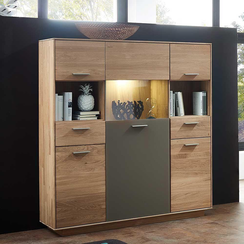 highboard aus wildeiche massivholz grau glas jetzt bestellen unter, Wohnzimmer