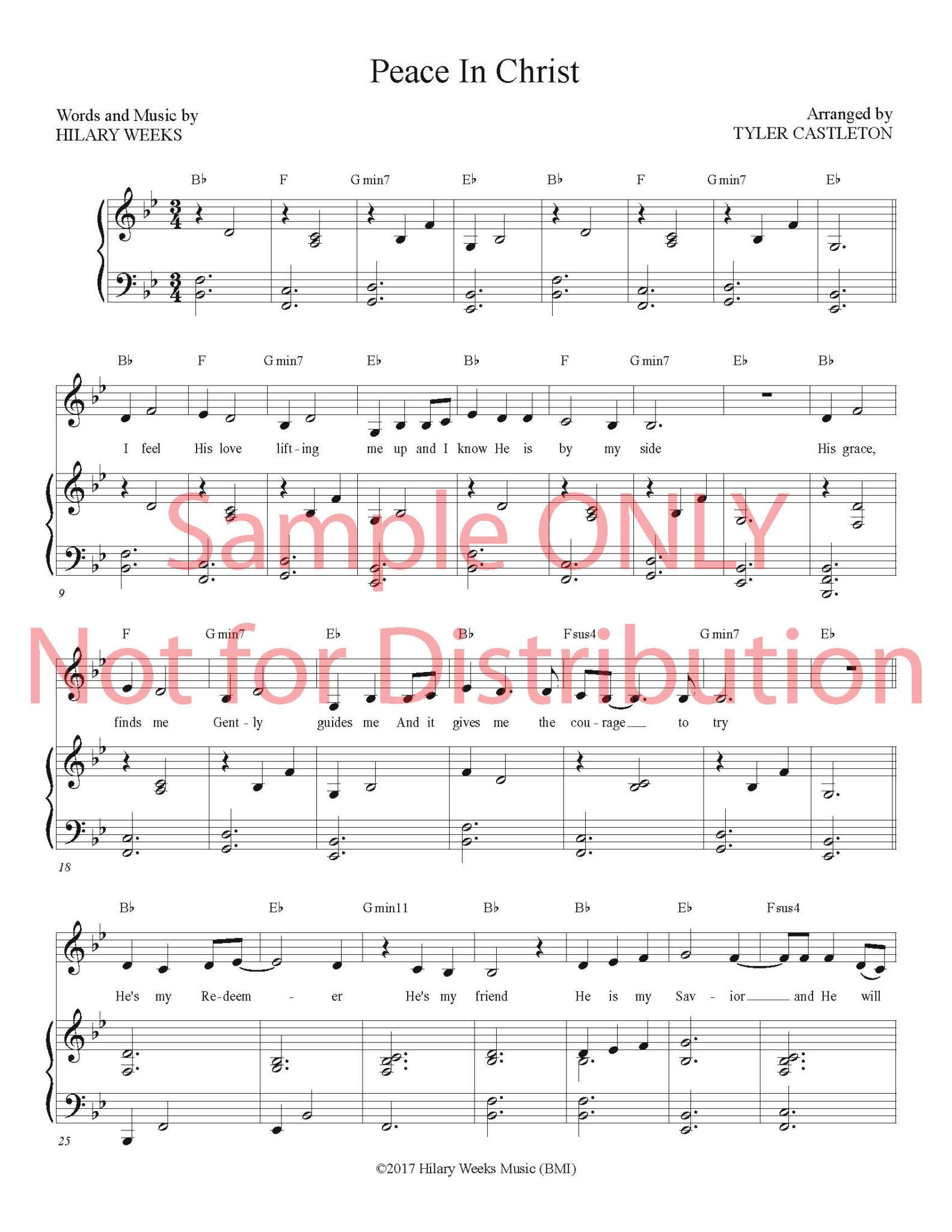 Peace in Christ - Sheet Music - written by Hilary Weeks (PDF