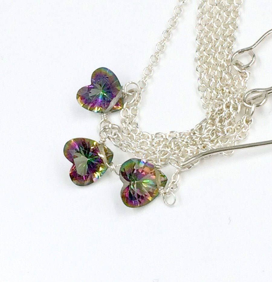 Heart necklace earrings set sterling silver rainbow mystic topaz