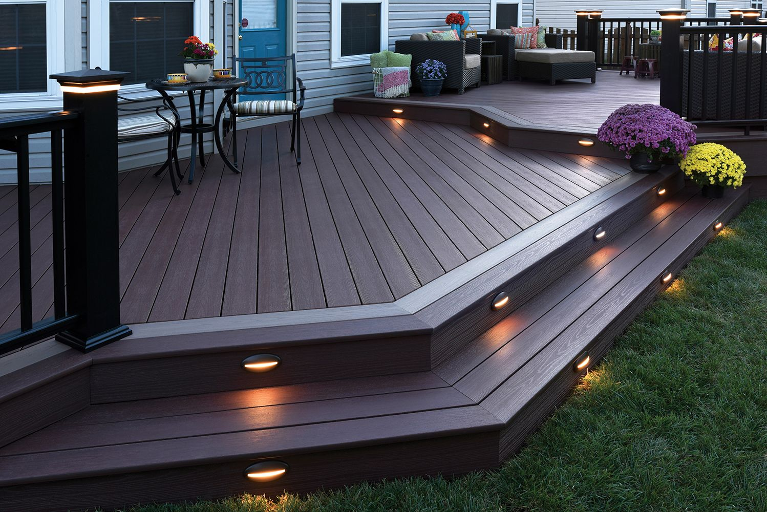 Azek Decking With Post Cap And And Riser Lights A Beautiful Way To Keep Your Backyard Lit At Night Deck Designs Backyard Patio Deck Designs Patio Design Modern backyard deck design ideas