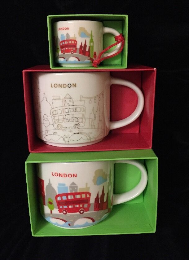 starbucks london mug ornament set yah christmas big ben cup