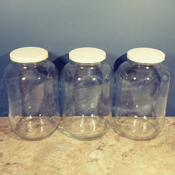 3 1 Gallon Jars 10 Tall Matching Clear Gl White Metal