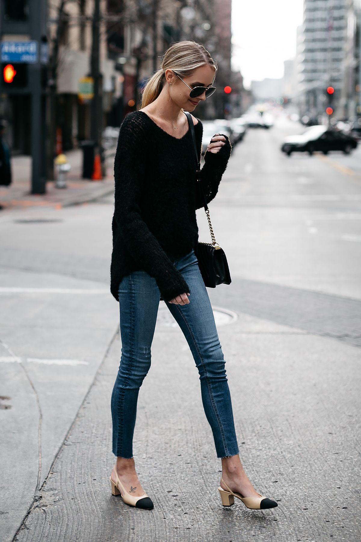 Blonde Woman Wearing rag and bone Black Sweater Denim Skinny Jeans Chanel  Slinbacks Fashion Jackson Dallas Blogger Fashion Blogger Street Style