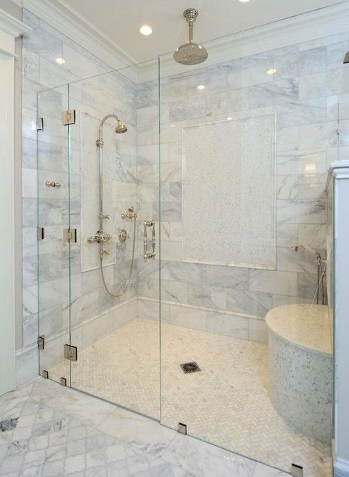 The Master Bath Custom Built Shower Is Enclosed With A Frameless Shower Door And Zero Clearance Ent Frameless Shower Doors Bathroom Remodel Shower Shower Doors