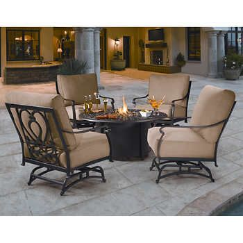 Saratoga 5 Piece Fire Chat Set Patio Furniture Fire Outdoor Fire Pit Fire Pit Table Set