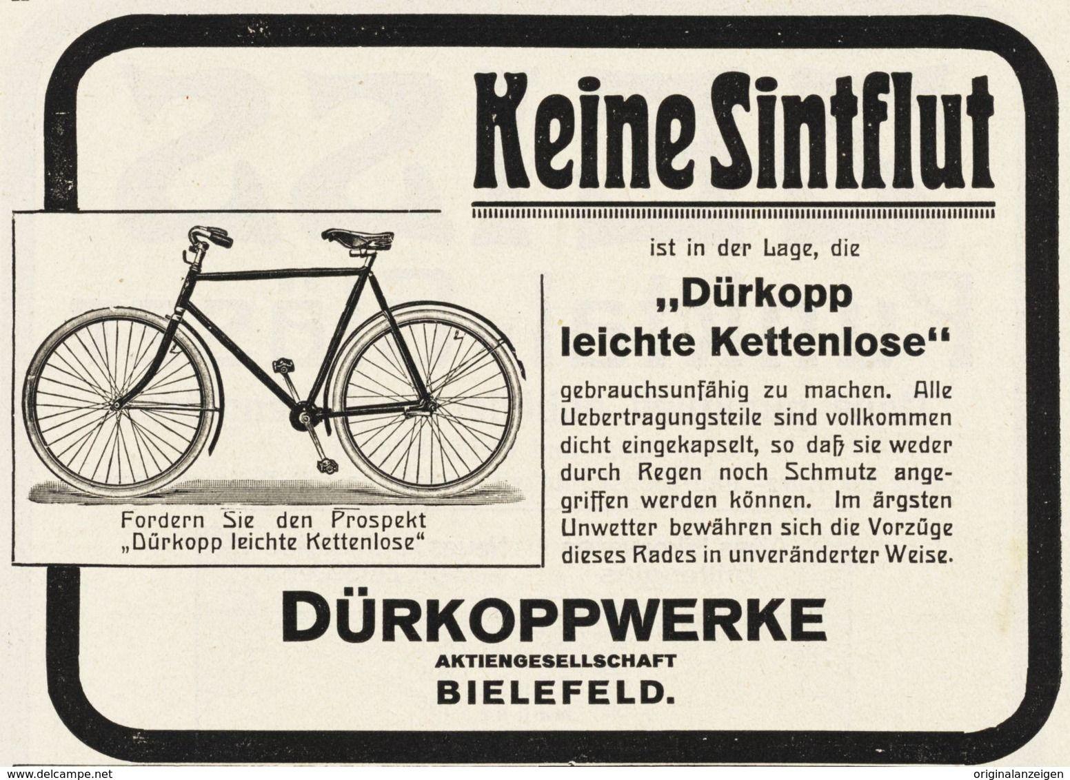 Original Werbung Anzeige 1914 Durkopp Kettenloses Fahrrad